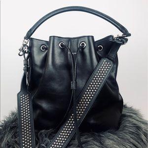 YSL✨Saint Laurent studded black leather bucket bag